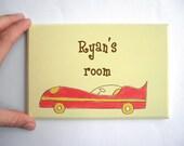 Personalized kids Door sign- Yellow and red race car door sign for children's room, children decor, kids sign, boys sign