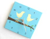 """Love birds Wall clock- birds on a branch Blue and cream 8"""" x 8"""" clock  -unique gift- - canvas clock- Decorative  hand painted Square clock"""