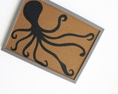 Memo Cork Board- Octopus, black and grey decorative cork board - Hand painted message board, Bulletin Board for boys