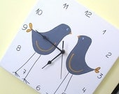 Wall clock-  Two grey love birds- Light cream square clock for nursery/ kids room/ kitchen clock, Hand painted on canvas