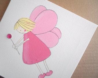 Kids wall art -Pink fairies  - nursery art decor, 3 Original art work canvas paintings , children decor
