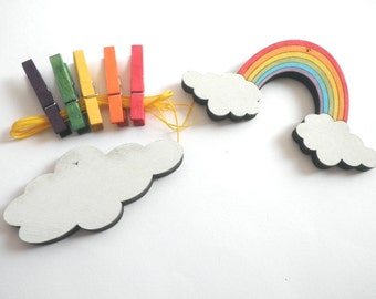 Children's  Artwork display hanger- Rainbow and a cloud- - kids wall art, girls wall art - rainbow colors, baby shower decoration