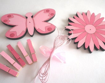 Children's  Artwork display hanger- Flower and butterfly- Pink- kids wall art, pink wall art for girls, baby shower decoration