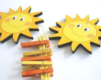 Children's  Artwork display hanger- Orange and yellow sun  -kids wall art, kids art hangers, children decor, baby shower