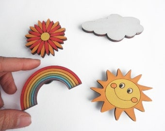 Magnets- Set of 4 wooden magnets- sun, cloud, rainbow and flower -funny magnets for children/teens/adults gift
