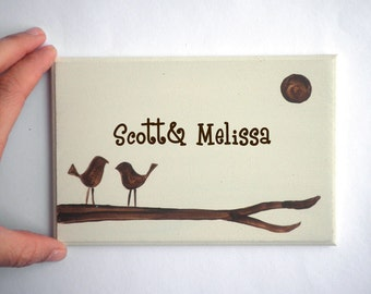 Door sign- Birds ,Cream and brown door sign for a couple/family/ dorm/ clinic/ office, hand painted sign by Shellyka
