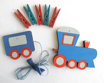 Children's  Artwork display hanger- Train - Blue and red wall art for boys - kids wall decor hangers, transportation wall art