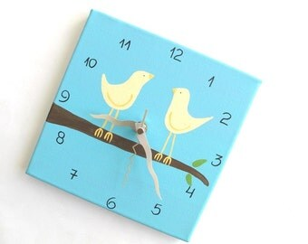"Love birds Wall clock- birds on a branch Blue and cream 8"" x 8"" clock  -unique gift- - canvas clock- Decorative  hand painted Square clock"