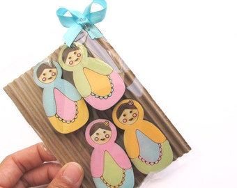 Babushka Magnets- Set of 4 wooden magnets- Matryoshka/ babushka - Russian doll pink, blue  orange and green, magnets