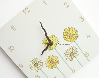 Children's Wall clock- Yellow Daisy flowers Hand painted on canvas-   Light Antique White clock for nursery/ kitchen clock