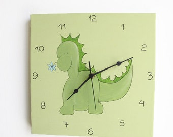 Kids Wall clock- Baby Dinosaur Green Square Clock for children/ nursery room - Hand painted on canvas