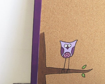 Cork Board- purple owl - Children violet purple hand painted message board, Bulletin Board, memo board, graduation gift