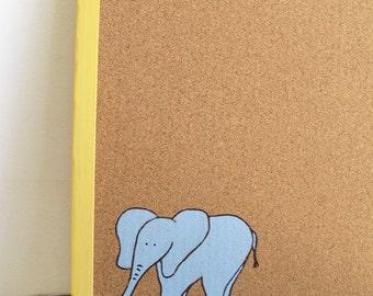 Cork Board- Elephant - Children Yellow and blue hand painted message board, Bulletin Board, memo board, graduation gift