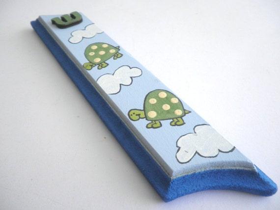 Children Mezuzah Case - Happy Turtles, blue and green mezuzah for kids, kids wall art, children art