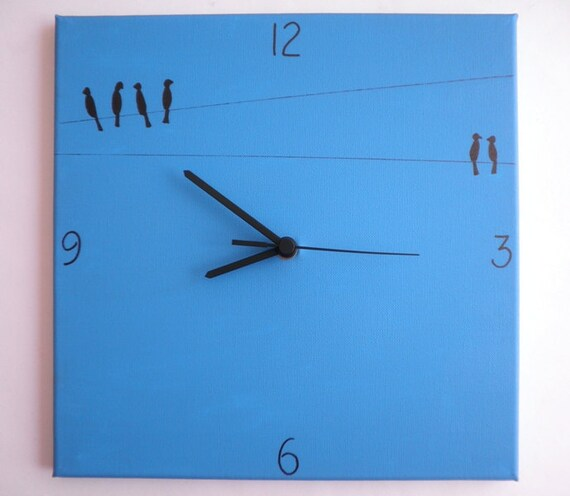 Wall clock- Birds - black and blue birds clock, kitchen clock, Hand painted on canvas