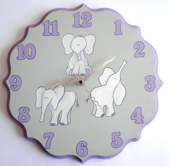 Children/ nursery wall clock-Elephants clock purple and gray clock for girls,  hand painted on round wooden clock