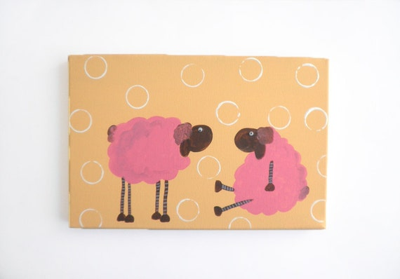 Kids wall art-Two Pink sheep- kids decor. kids painting pink and orange original Painting for girls room
