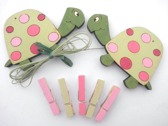 Children's  Artwork display hanger- Turtles pink and green -kids wall art, kids art hangers, girls wall decor, baby shower decoration