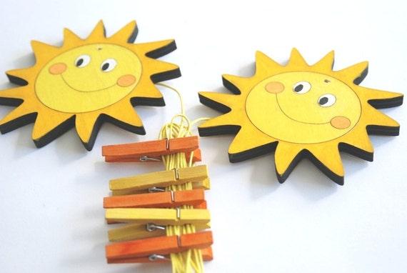 Children's  Artwork display hanger- Orange and yellow sun  -kids wall art, kids art hangers, children decor, baby shower
