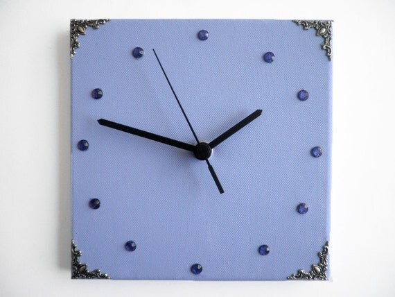 Wall clock- Decorative Blue crystals square girls clock, Hand painted on canvas, clock for children
