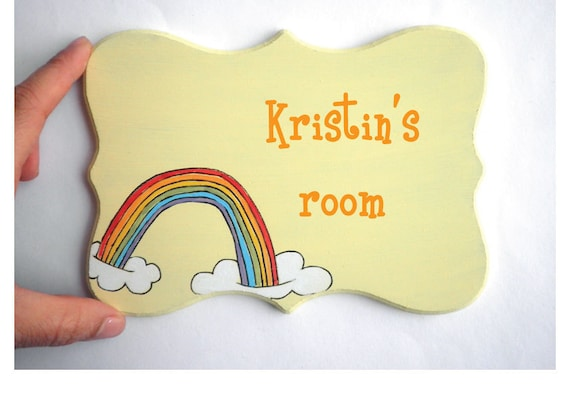 Personalized kids Door sign- Rainbow Yellow door sign for children's room, children decor, kids sign, girls sign