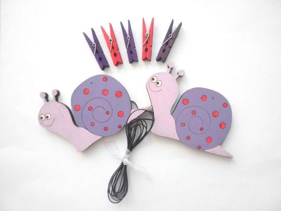 Children's  Artwork display hanger- Snails, Pink and red  -kids wall art, kids art hangers, girls wall decor, baby shower decoration