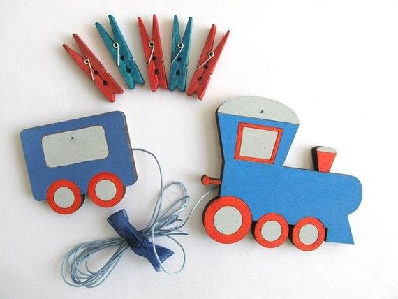 Children's  Artwork display hanger- Train - Blue and red wall art for boys - kids wall decor hangers, transportation wall art