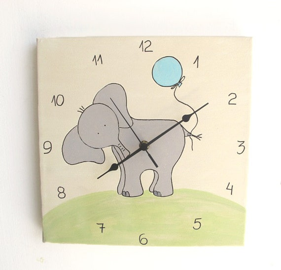 Children's clock- Elephant Grey and spring green on Cream/ Antique White ,Hand painted on canvas- nursery clock