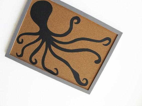 Memo Cork Board- Octopus, black and grey decorative cork board - Hand painted message board, Bulletin Board for boys