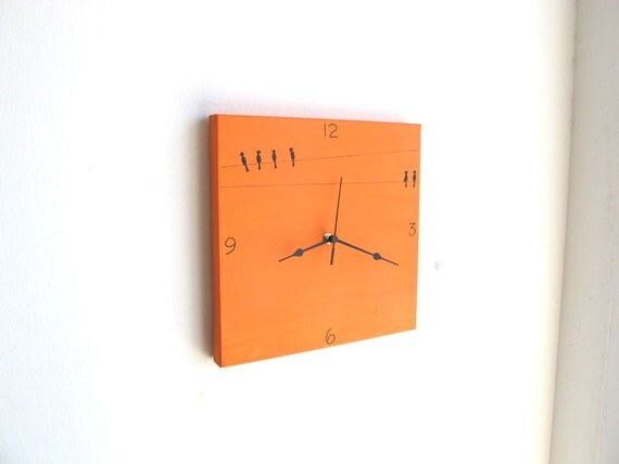 Wall clock- Birds - black and orange canvas clock - Hand painted on canvas, kitchen clock, decorative clock
