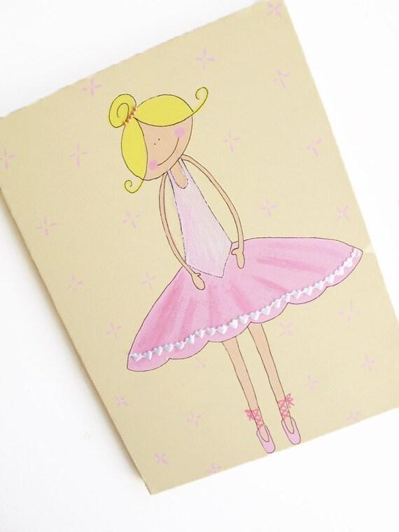 Ballerina - pink and cream canvas painting for girls room, children decor,children art Kids wall art