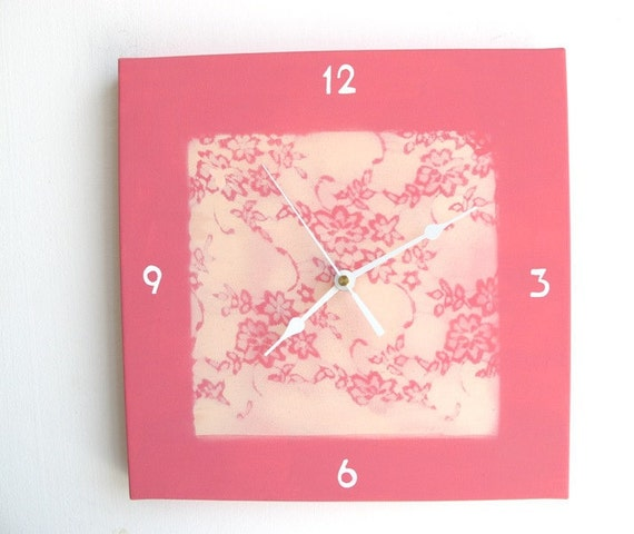 Wall clock- pink Lace romantic flowers clock  - Hand painted on canvas children clock, teens, clock, girls clock, kitchen clock