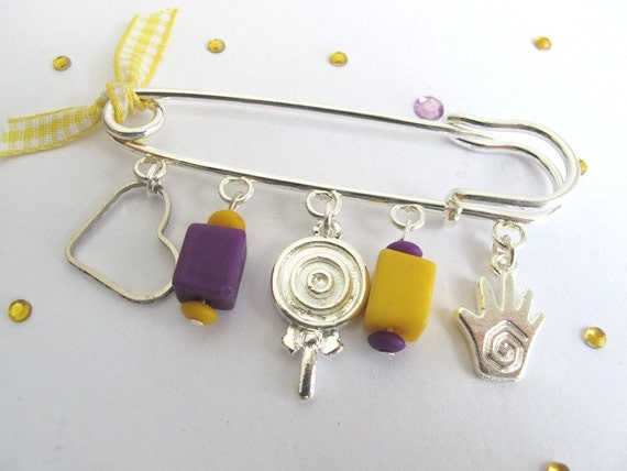 Baby Lucky Safety pin -decorative safety pin with pendants for babies-  Lolly pop yellow and purple pin for baby girls, baby shower gift