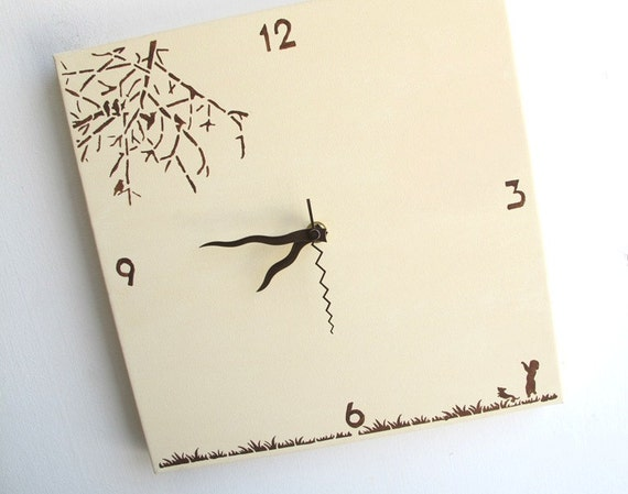 Children's Wall clock- Cream and brown - Square clock for nursery/ kids room/ kitchen clock - Hand painted on canvas