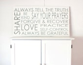 Large Reclaimed Wood Sign- In Grey and White- Love Share Prayers