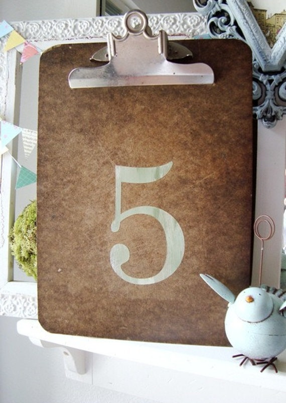 Reclaimed Clipboard with Number 5 five