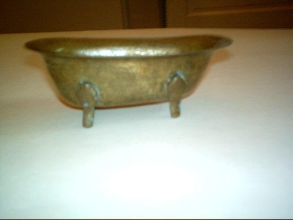 Vintage Brass Bathtub - Clawfoot Brass Bathtub - Holder - Home Decor - Paperweight - Pen Holder - Candy Dish - Soap Dish
