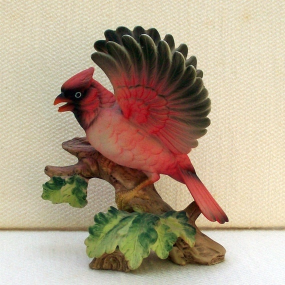 Vintage Porcelain Bird Figurine Red Cardinal
