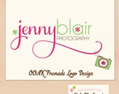 Hand Drawn premade Logo Design  - Cute Camera, Daisies and Swash Text Small Business Photography Photographer Logo OOAK