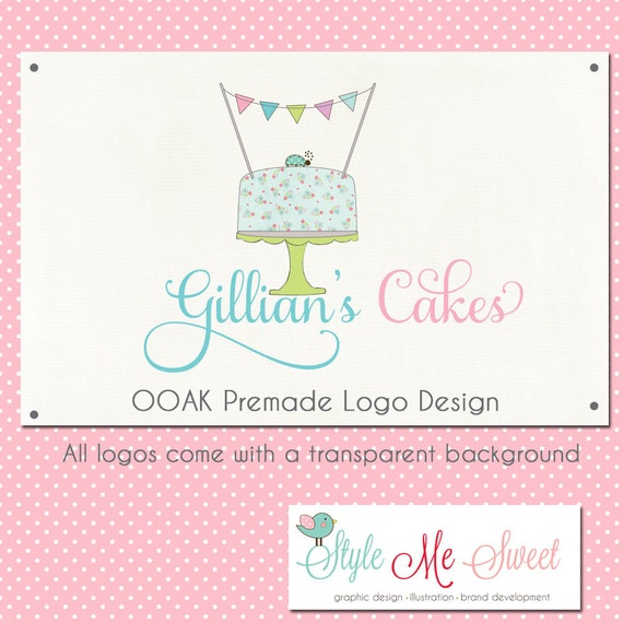 Premade Logo Design OOAK - A Cake, Bunting Flag and Ladybug hand drawn Photography Small Business Bakery Logo Design Never Resold