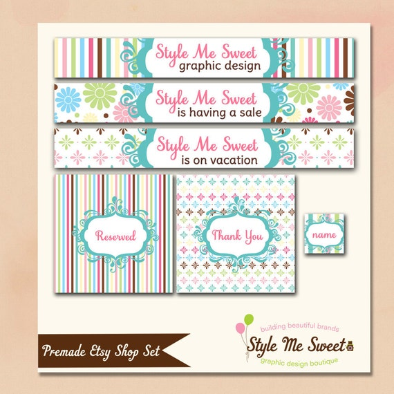 Etsy Premade Shop Set Banner and Avatar Mini - Sweet Shoppe