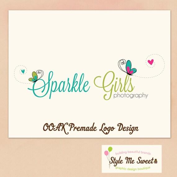 Logo Design Premade OOAK- Sweet Buterflies Hand Drawn Small Business Photography Photographer Logo Never Resold