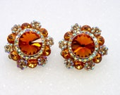 Vintage Rhinestone Earrings Huge Orange Rivoli Inverted Rhinestones