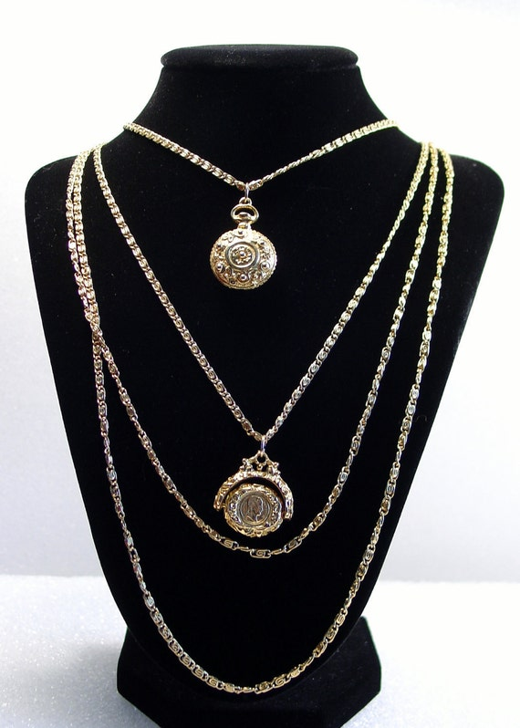 Goldette Necklace Vintage Watch and Fob 4 Strand Victorian Revival Necklace