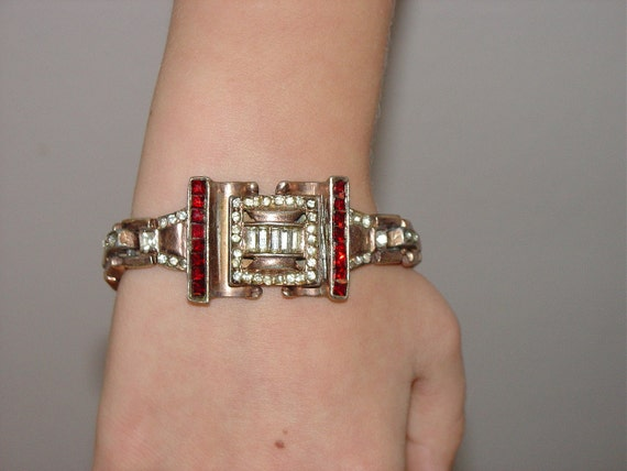 Vintage Art Deco 40's Rhinestone Bracelet Possible KTF Trifari