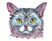 Blue Cat Face, pet face watercolor artwork print, size 10x8 (No. 16)