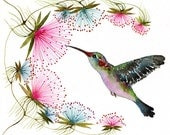Hummingbird // SALE 1+1// Buy one get one FREE, tiny bird art print, birds watercolor painting reproduction, size 10x8 (No.29c)