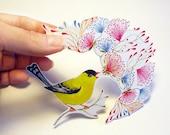 Little Singing Goldfinch song bird sticker, // SALE 3 for 2 // 100% waterproof vinyl label.