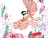 Chickadee // SALE 1+1 // Buy one get one FREE, bird flight watercolor painting print by OlaLiola, size 8x10 (No. 44)