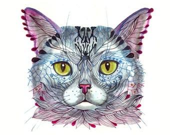 Blue Cat Face, pet face watercolor artwork print, size 10x8 (No. 16)